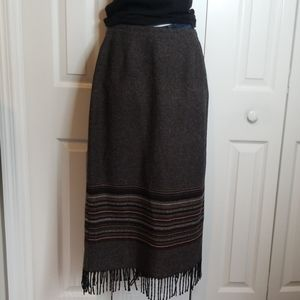 Vintage Michele Wool Blend Fringe Long Skirt